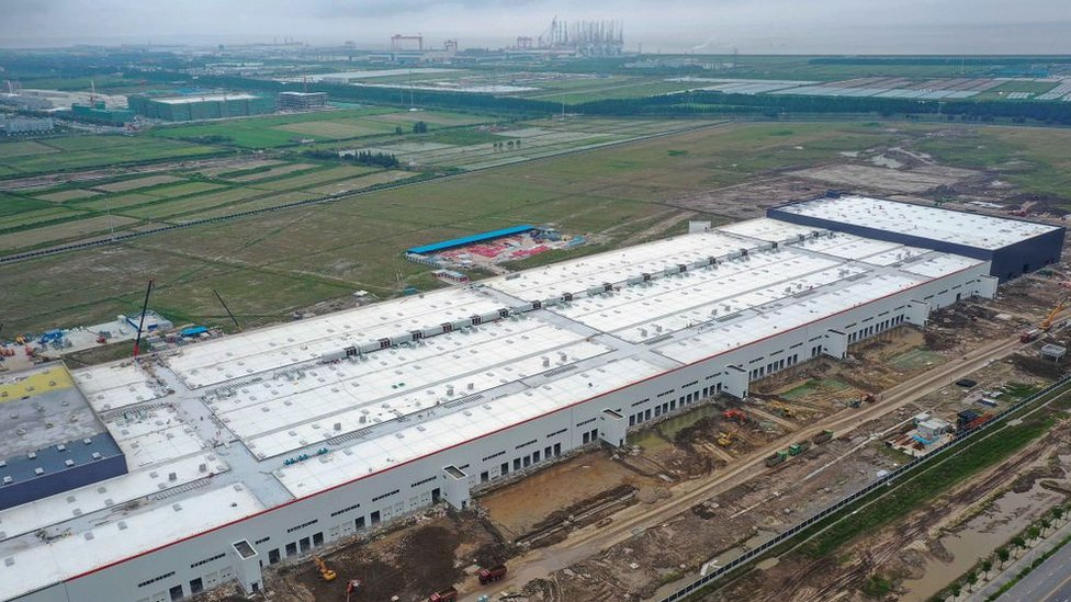 Tesla factory under construction in Shanghai in 2019.