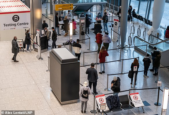 Those arriving in the UK will be able to present negative PCR or lateral flow Covid tests as proof that they do not have coronavirus. Pictured: January 8, Heathrow