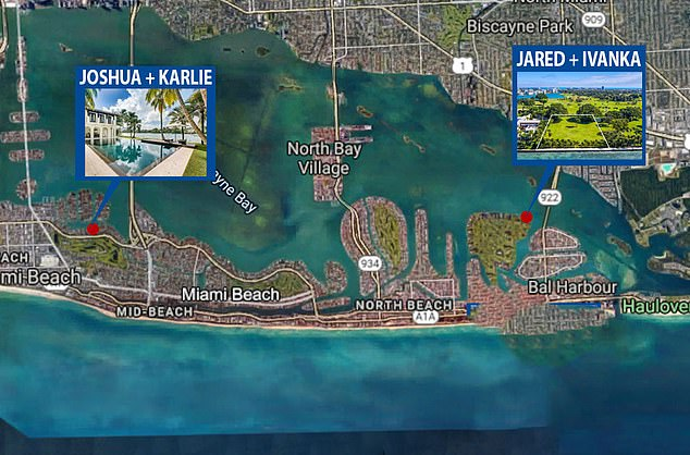 Karlie Kloss and Joshua Kushner have homes very close to one another situated between Miami Beach and Bal Harbour in Florida