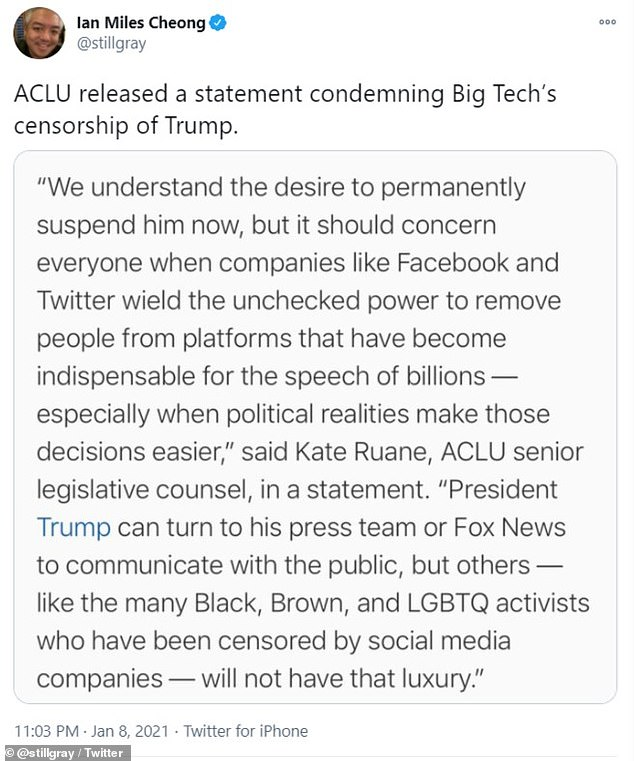 The Cheers actress was responding to this comment from the ACLU when she made the comparison. The ACLU also disagree with Trump's Twitter ban on the ground of free speech