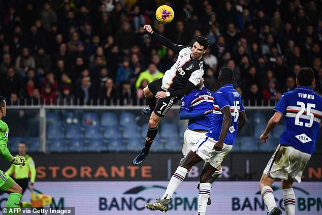 Ronaldojumped 2.56 metres and was in the air for 1.5 seconds for a header against Sampdoria