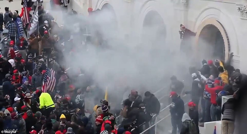 Teargas was eventually deployed to push the rioters back from the Capitol