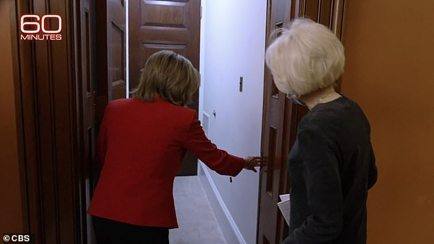 Pelosi showed Stahl where the rioters had smashed through her office door to enter