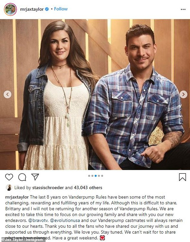 'Thank you to all of our fans': More recently it was revealed the the series' most controversial character Jax Taylor, as well as his wife Brittany Cartwright, would be bidding farewell to Vanderpump Rules