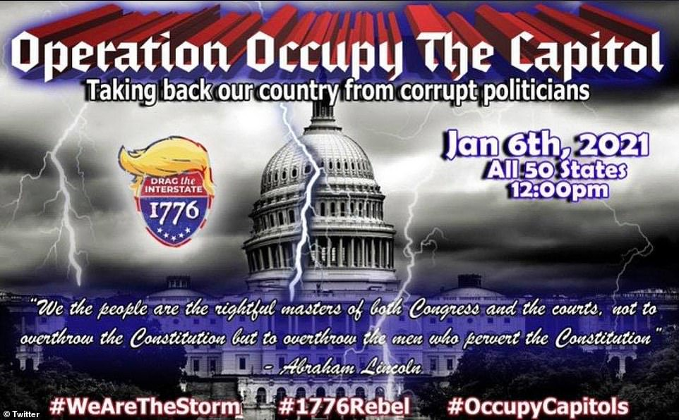 Despite officials saying they had no knowledge of attacks on the US Capitol, far-right social media users had been openly hinting for weeks that chaos would erupt and protests could descend into violence. One flyer that emerged on Facebook and Instagram last month was titled: 'Operation Occupy the Capitol'