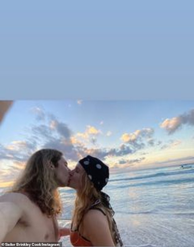 A smooch for her true love: And Sailor also posted an image where she was kissing Ben