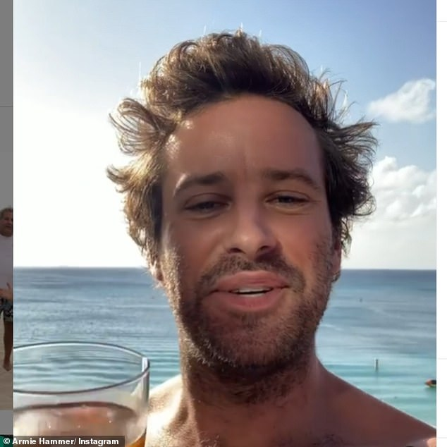 Social media fan: The actor has been posting updates from his Cayman Islands trips in recent weeks, including a shirtless video of himself enjoying a drink on Christmas Eve