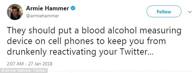 Quit: Armie quit Twitter in 2017 after a 'bitter AF' Buzzfeed article was written about him, but rejoined in January 2018, joking alcohol may have had something to do with his decision