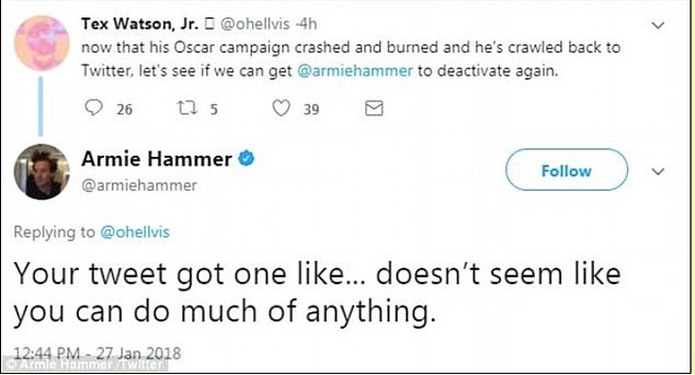 Fights: Within a day of reactivating, Hammer was already getting into online squabbles