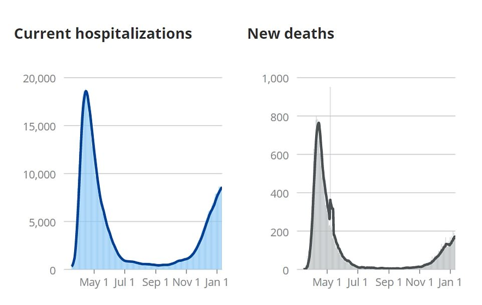 Current hospitalizations in New York are more than they were back in March when Cuomo initiated the shutdown, but he now says the state needs to reopen to save the economy. These COVID Tracking graphs show how New York's hospitalizations and deaths rates have formed a U-shape - they peaked in May, then went down in the fall, only to rise against in the winter