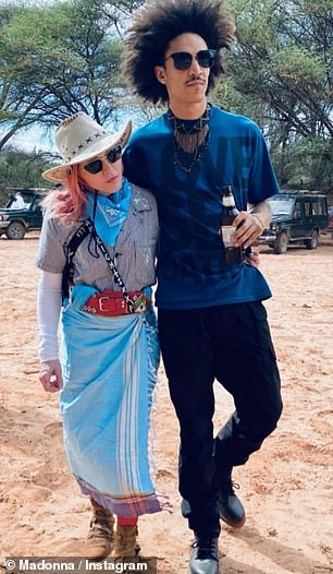 The singer, 62, has been accompanied on the getaway by her boyfriend, American backing dancer Ahlamalik Williams, 26 (pictured together in Kenya this week)