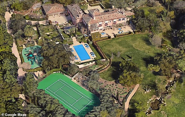 Neighborhood: Rob said he lives 'about a mile away' from Harry and Meghan's Montecito home (pictured). The couple also count Oprah and Ellen DeGeneres and neighbors