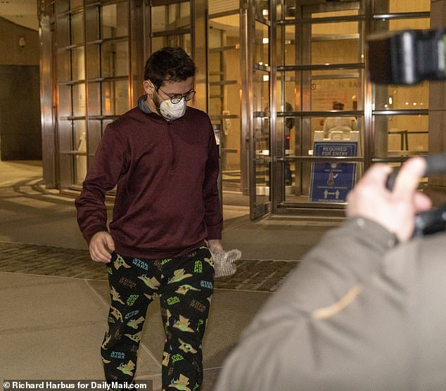 Mostofsky leaves Brooklyn federal court wearing a windbreaker and Star Wars pajama pants