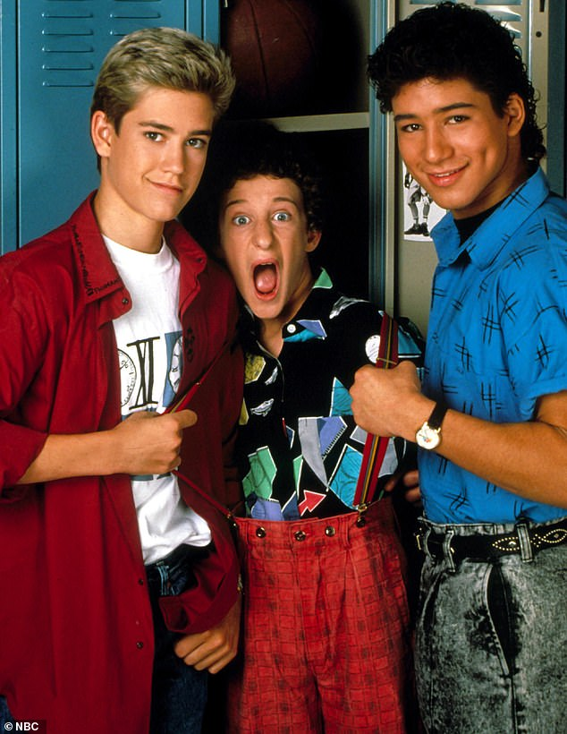 Remember when: He was also part of the 1992 TV movie Saved By The Bell: Hawaiian Style which he is pictured in with Mark-Paul Gosselaar (left) and Mario Lopez (right)