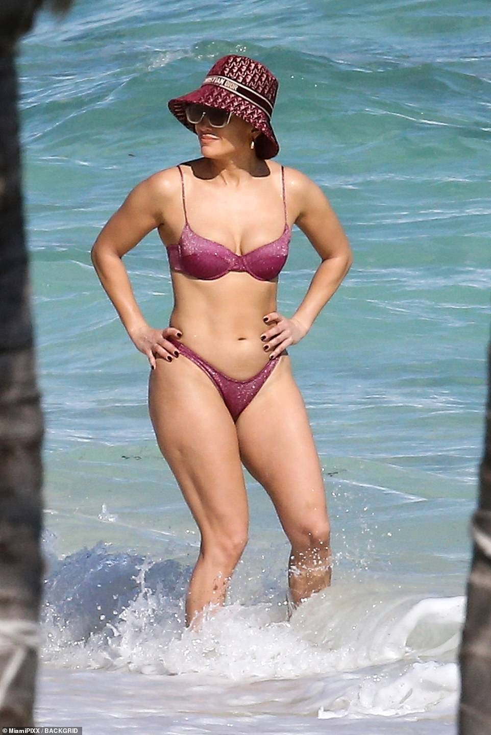 Happy camper: No doubt the pop star was enjoying a fun-filled few days in paradise