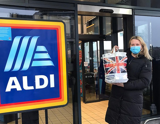 After spending £6.59 on fresh fruit and vegetables at her local greengrocer, Jo headed to cut-price German supermarket Aldi to spend her remaining £9 budget and came away with a bag groaning with dried, tinned and fresh foods
