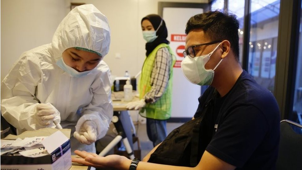 A coronavirus test in Indonesia