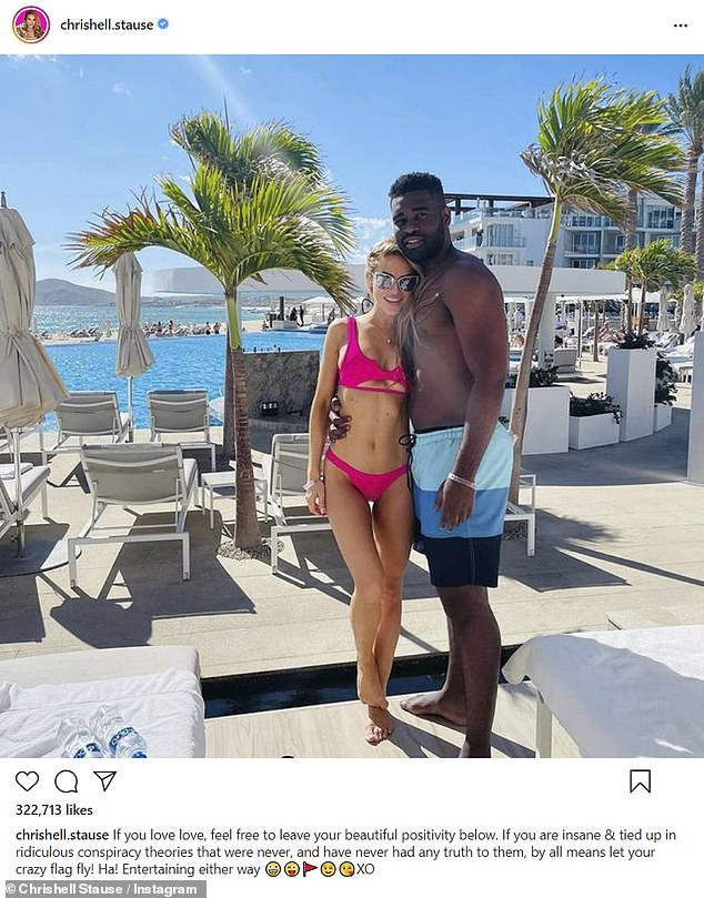 Vacationing: Things appear to be going well, with the couple having just returned from a getaway to Mexico in late December; Chrishell and Keo pictured in December 2020