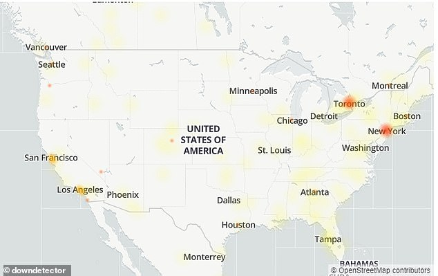 DownDetector shows a majority of the issue reports cite problems with the website, followed by news feed in the app and logging in to accounts. Major cities in the US appear to be shown 'red' on the Instagram outage map including New York City, San Francisco, Chicago and Dallas