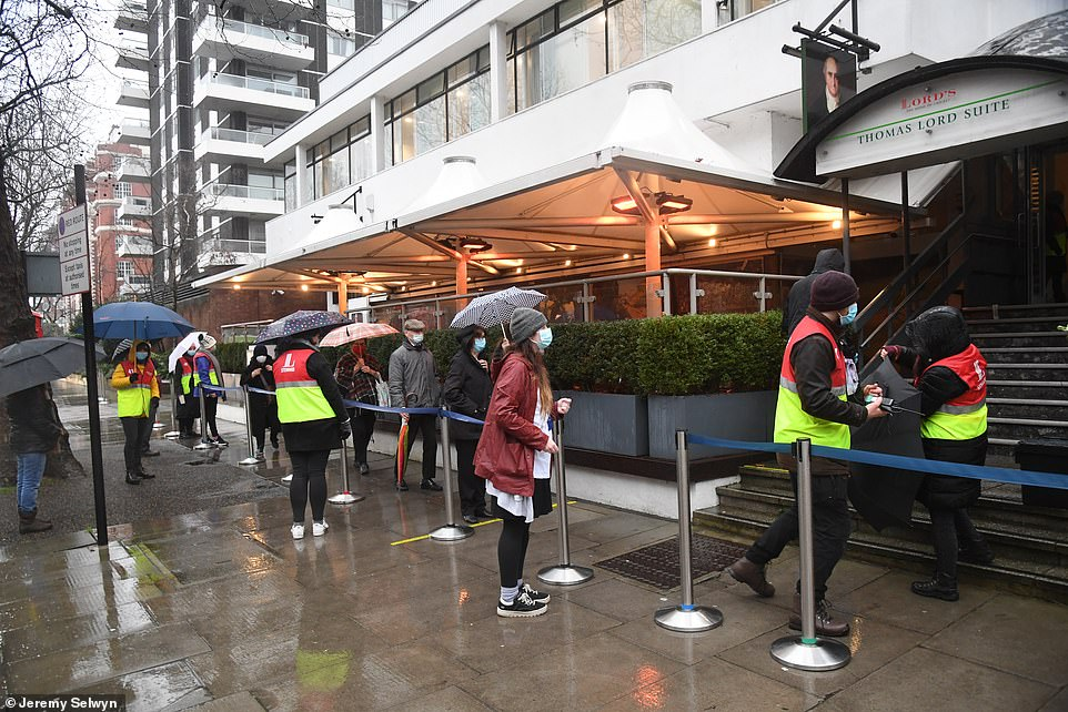 Sadiq Khan said only a tenth of Covid vaccines across the UK had been given to people living in the capital. Pictured:Vaccination Centre open today at Lords Cricket Ground