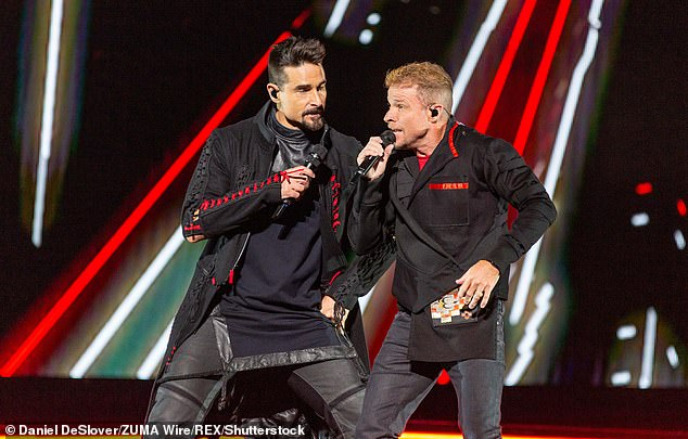 Family rift: Not only are Kevin and Brian bandmates, they are also cousins as Littrell's father and Richardson's mother are siblings, and Kevin reportedly called on Brian to try out for the Backstreet Boys during a casting call in 1993; seen in 2019