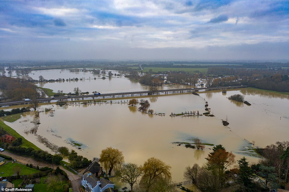 Flooding at St Ives in Cambridgeshire this morning for the second time in a month after the River Great Ouse burst its banks