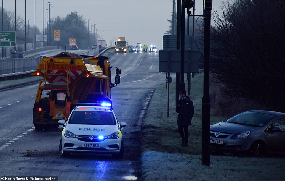 The A1058 Coast Road between North Shields and Newcastle was closed after multiple crashes this morning amid black ice