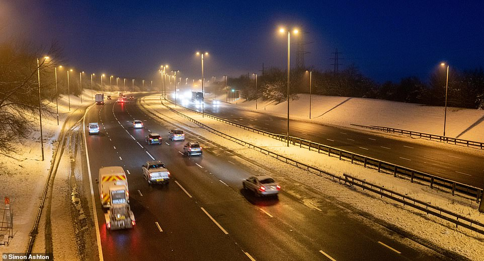 Icy conditions this morning on the M1 in West Yorkshire as motorists were warned to take extra care on the roads