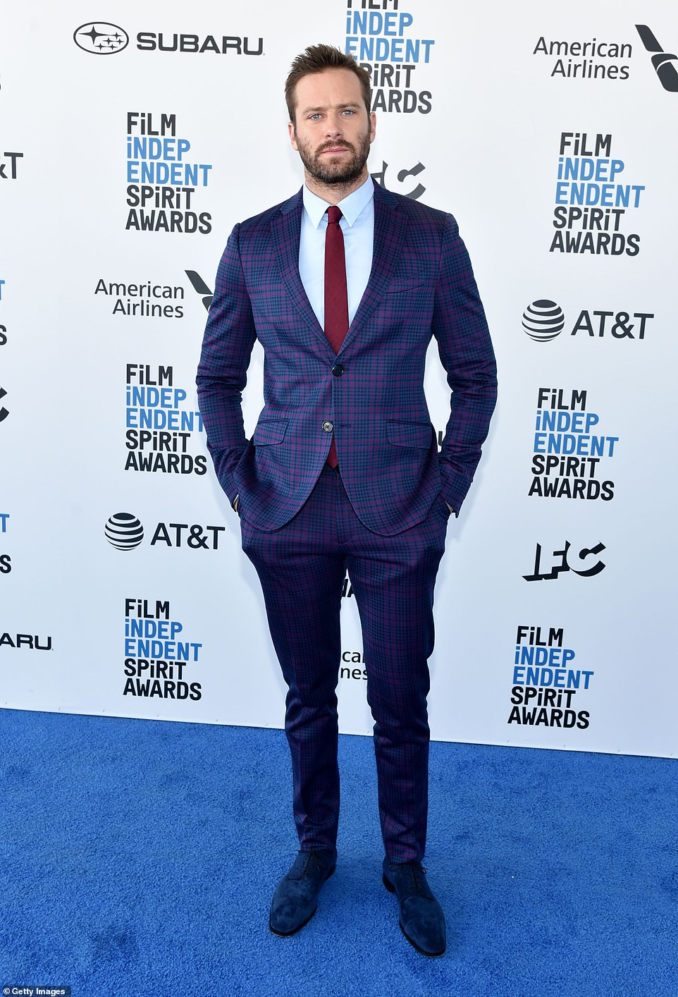 Not responding: 'I'm not responding to these b******* claims but in light of the vicious and spurious online attacks against me, I cannot in good conscience now leave my children for 4 months to shoot a film in the Dominican Republic,' said Hammer to DailyMail.com on Wednesday; Armie pictured in 2019