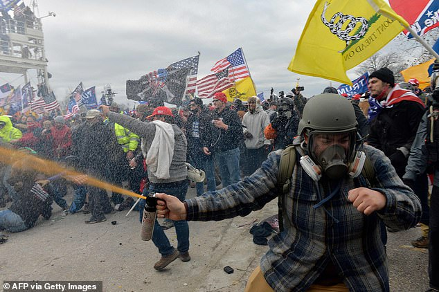 The crowd sprayed bear mace at the officers, which is far stronger than any other type of mace