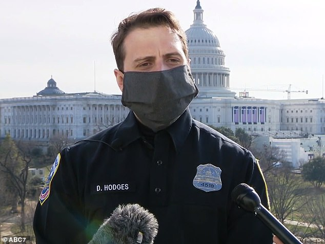 Hodges is shown speaking at the Capitol on Thursday about the attack