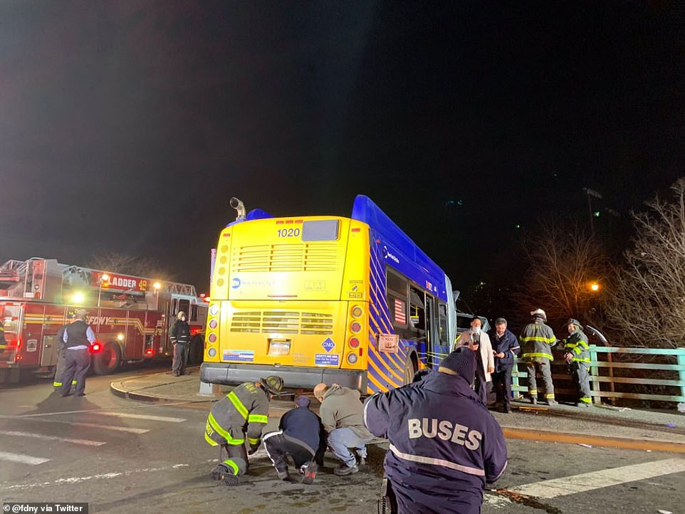The FDNY shared on Friday morning that two crews arrived at the scene, with Rescue 3 securing the bus up-top while Engine 43 began treatment of civilian patients