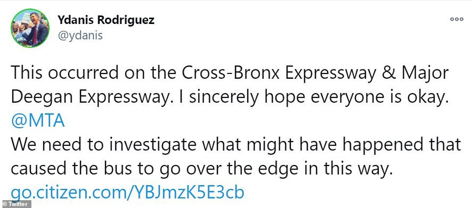 City Council Member Ydanis Rodriguez took to Twitter to call for an investigation on 'what might have happened that caused the bus to go over the edge'