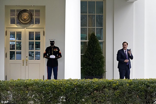 A Marine outside the door indicated the president was most likely there