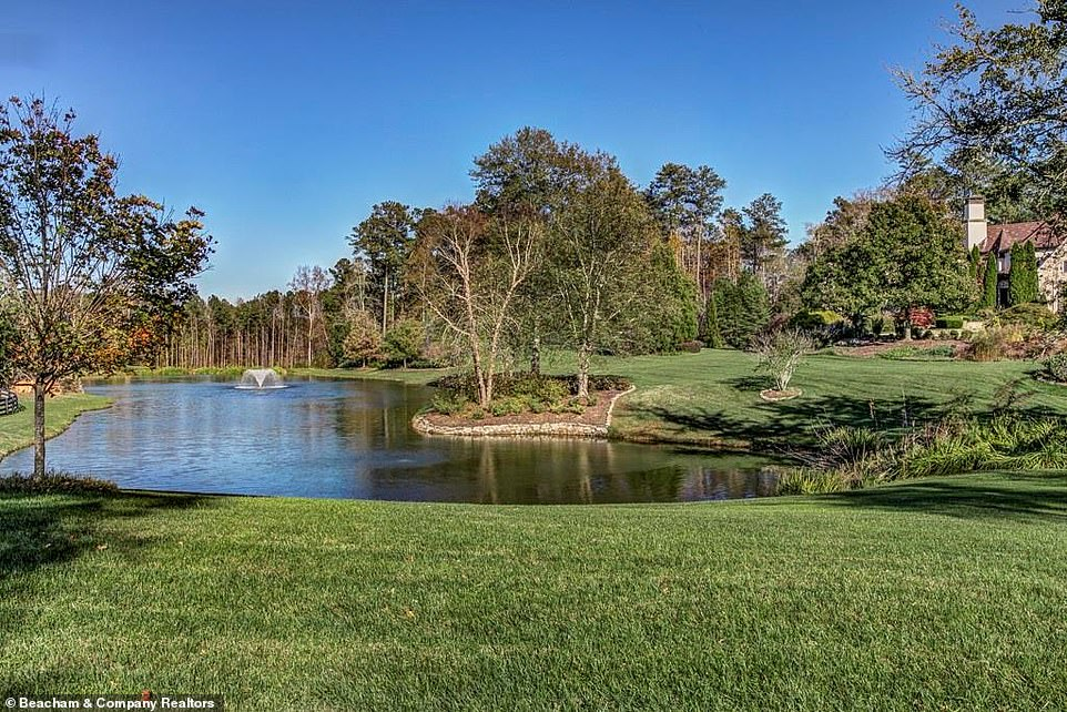 Gorgeous:Dwayne's pool however is not the only potential place to go swimming on the property as his home also includes a massive lake located amid the vast grassland
