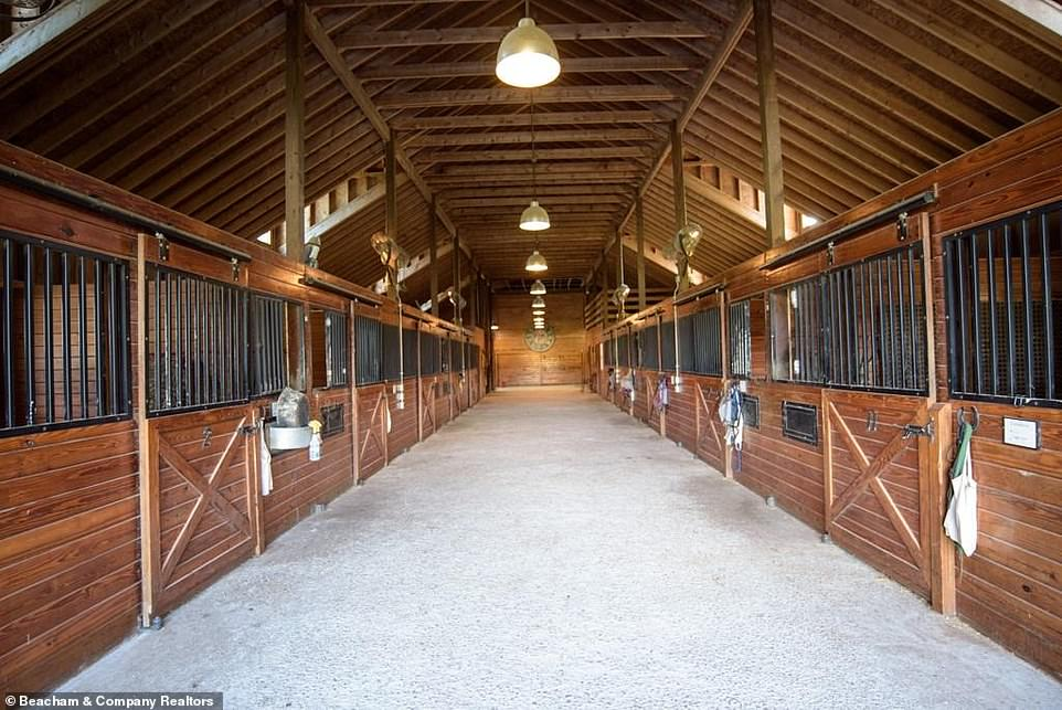 Utility:Inside the stable there are 12 stalls and a vaulted ceiling with exposed rafters and plenty of lights