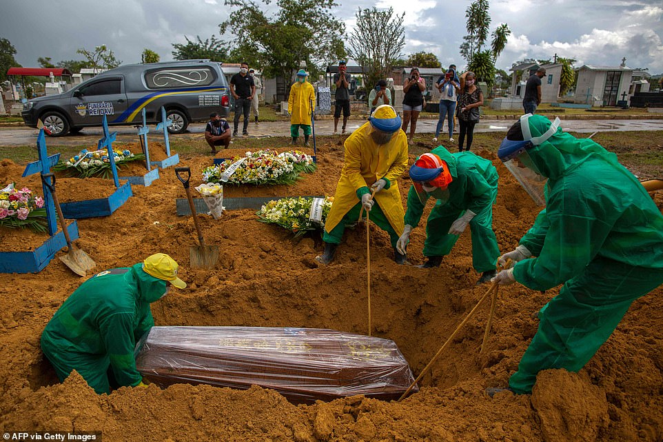 Overwhelmed: Gravediggers wearing green and yellow hazmat suits bury a foil-wrapped coffin at the Nossa Senhora Aparecida cemetery in Manaus, with mourning relatives having to queue to bury their dead