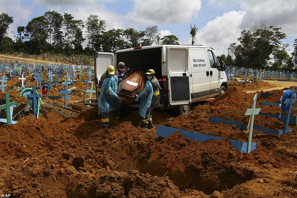 Cemetery workers carry the remains of 89-year-old Abilio Ribeiro, who died of the coronavirus, into a grave in Manaus