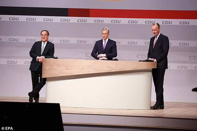 Candidates for the new CDU party chairman (R-L) Friedrich Merz, Armin Laschet and Norbert Roettgen attend a CDU virtual party congress in Berlin on Saturday