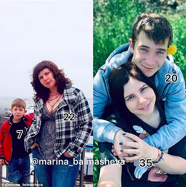 The Russian blogger - with more than half a million followers on Instagram - has known Vladimir since he was seven (pictured left, together, when he was seven) after previously being married to his father Alexey Shavyrin, 45, who now cares for their five adopted children