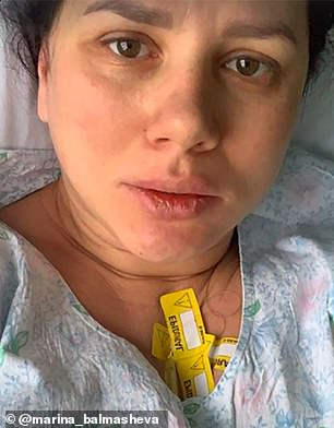 Her new husband Vladimir was not present at the birth. It is unclear if this is due to COVID-19 restrictions or personal choice. Pictured, the blogger at the hospital following the birth