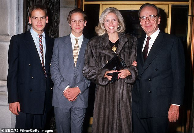Rumors of a family rift have swirled over the years after eldest son Lachlan (pictured with James, father Rupert and mom Anna in 1987) became heir apparent of his dad's media empire