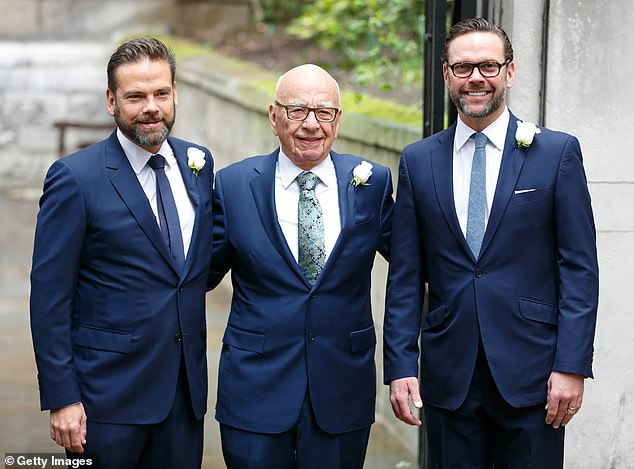 Rupert Murdoch with his sons Lachlan Murdoch (left) and James Murdoch (right) in 2016