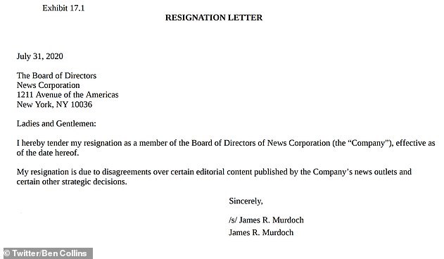 In his resignation letter, James cited 'disagreements over certain editorial content'