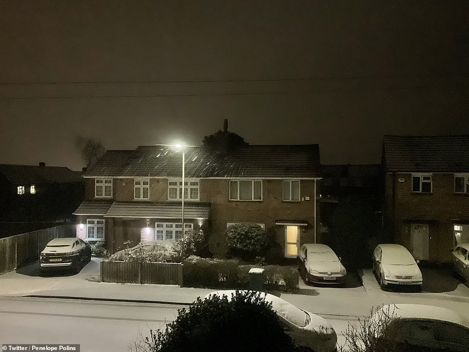 An amber weather warning was issued in Eastern England between 5am and 2pm covering Essex, Hertfordshire, Cambridge, Norfolk and Suffolk. Pictured, snow in London
