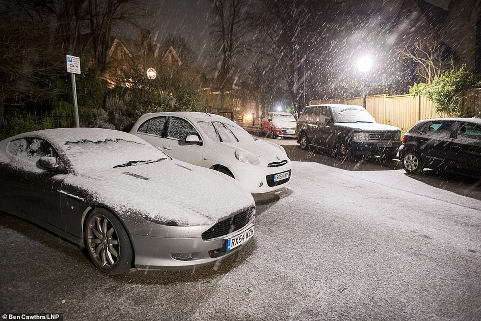 Heavy snow at Hampstead, north London, as large parts of the UK were blanketed amid an amber weather warning and freezing conditions