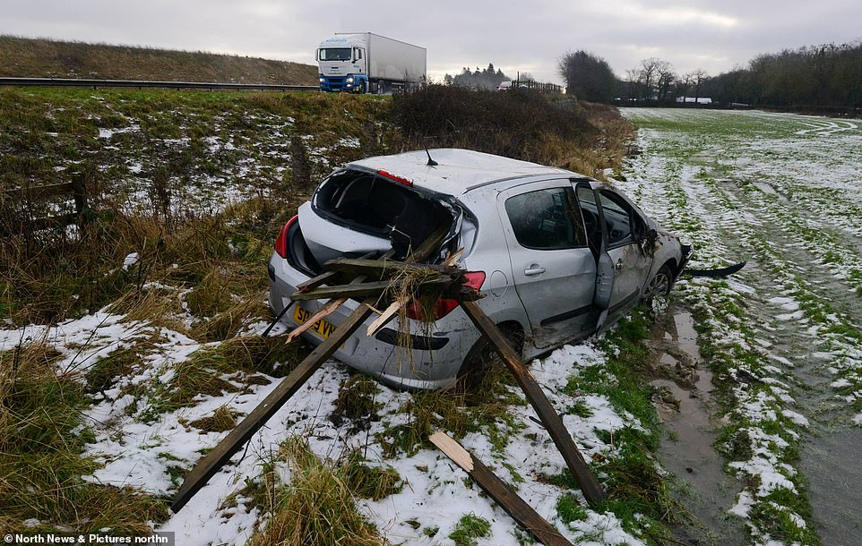 Heavy snow followed by freezing conditions left motorists facing treacherous driving conditions on the A1 in Northumberland today, with cars skidding off the A1 northbound at Stannington and crashing into a farmers field