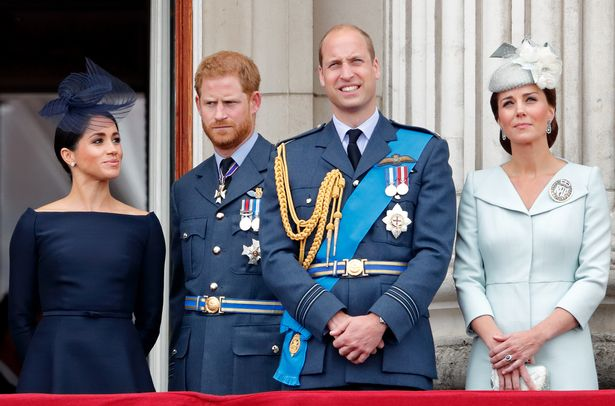Prince Harry with Meghan, Prince William and Duchess of Cambridge