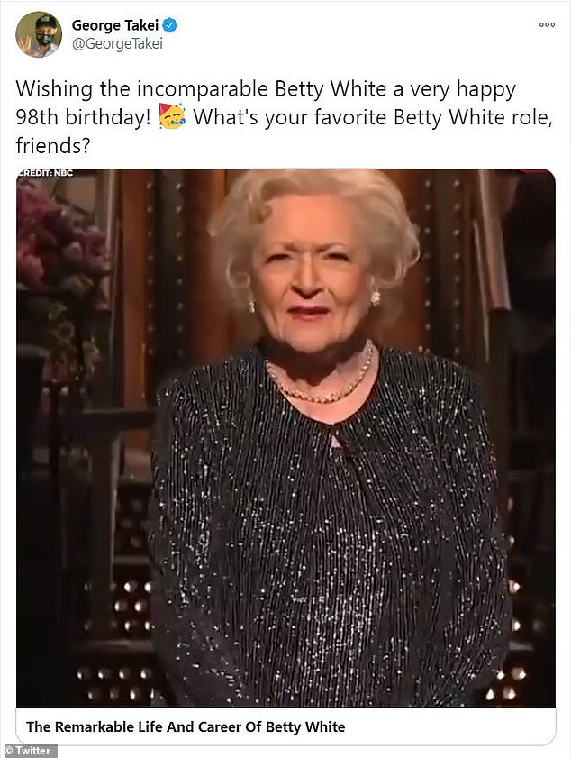 Whoops!George Takei posted a compilation of some of Betty's funniest moments, though he accidentally wrote she was only 98