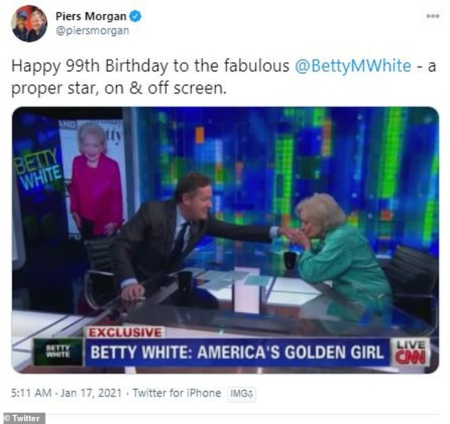 'A proper star':English broadcaster Piers Morgan paid tribute to Betty with a funny still of her kissing his hand from an interview he conducted on CNN